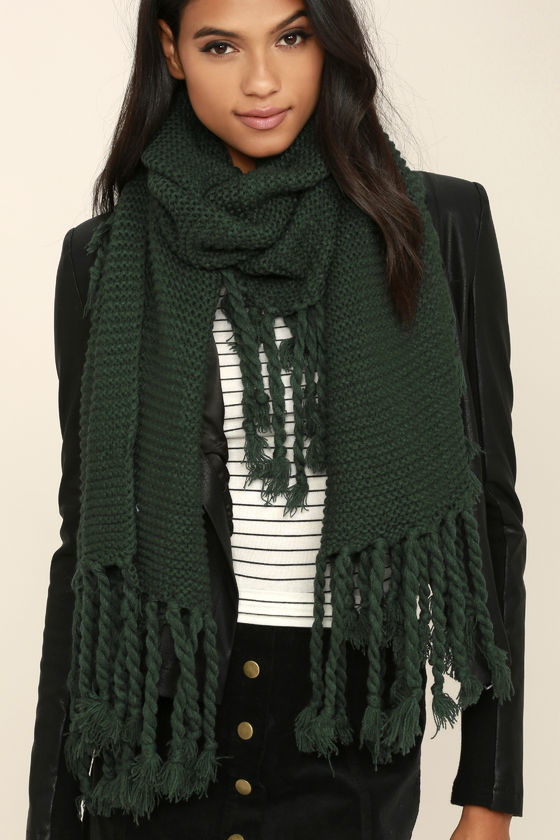 Cute Dark Green Scarf - Knit Scarf - Fringe Scarf - Wide Scarf .