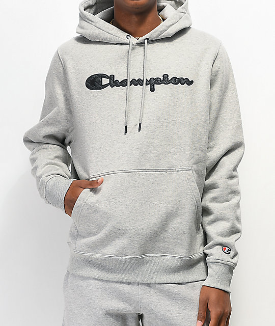 Champion Quilted Logo Grey Hoodie | Zumi