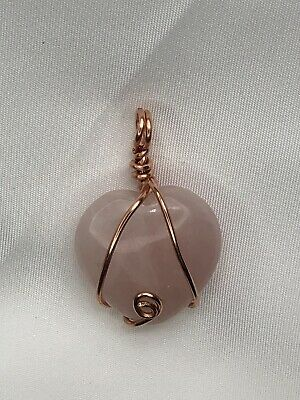 Copper Wire Wrapped Rose Quartz Crystal Heart Pendant Handcrafted .