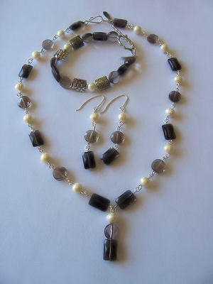 Deesigns by Deena: Smoky Quartz & Fresh Water Pearl Linked Set .