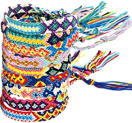 Amazon.com: Zhanmai 10 Pieces Woven Bracelets Handmade Friendship .