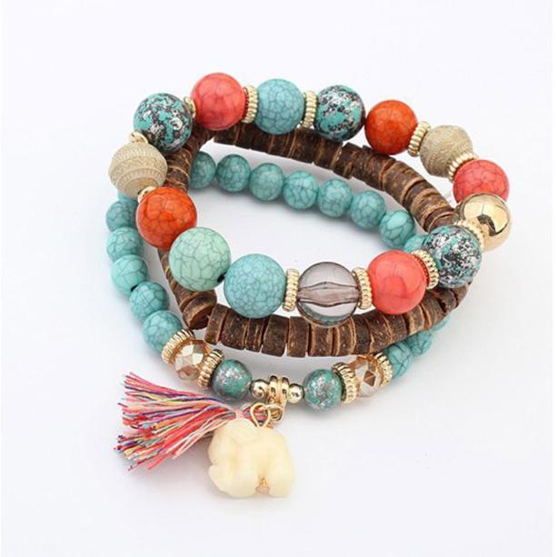 Unisex Multilayer Beads Bead Handmade Bracelets Florid Cool .