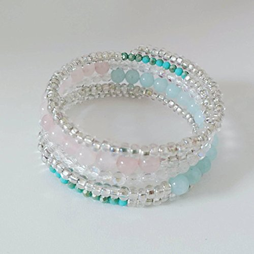 Amazon.com: Multi Strand, Memory Wire Gemstone Bracelet, Handmade .