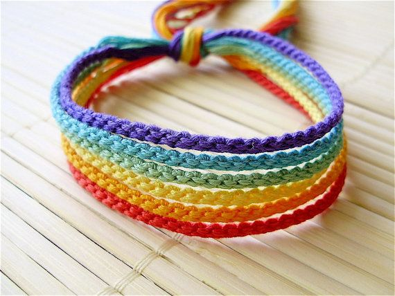 Muted Rainbow Friendship Bracelet Set - Six Handmade Bracelets in .