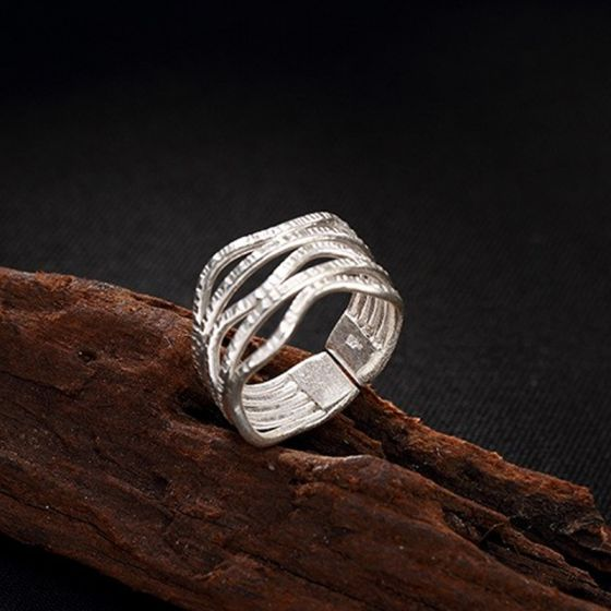 Modern / Fashion Silver Handmade Lucky Faith Rings Set Sterling .