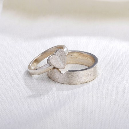 Handmade Original Design Of Love Sterling Silver Couple Rings .