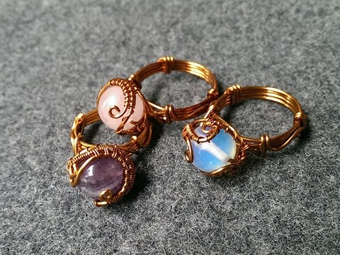 Rings with spherical stones - handmade jewelry design 122 - YouTu