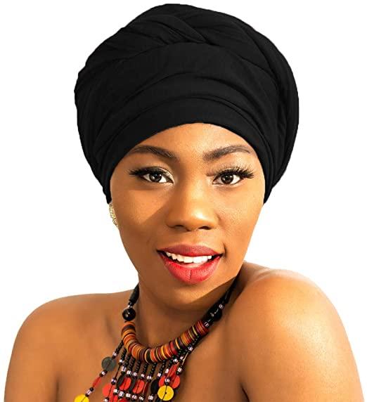 LMVERNA Head Wraps For Black women stretch head scarf hijab .