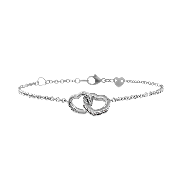 Lorelei Interlocking Diamond Heart Bracelet HFBIHDLO00268Y .
