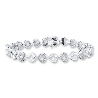 Diamond Heart Bracelet Sterling Silver | Womens Bracelets .