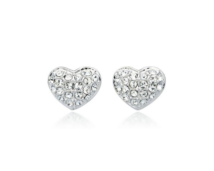 MYJS Alana Heart Earrings with Swarovski® Crystals Rhodium Plat