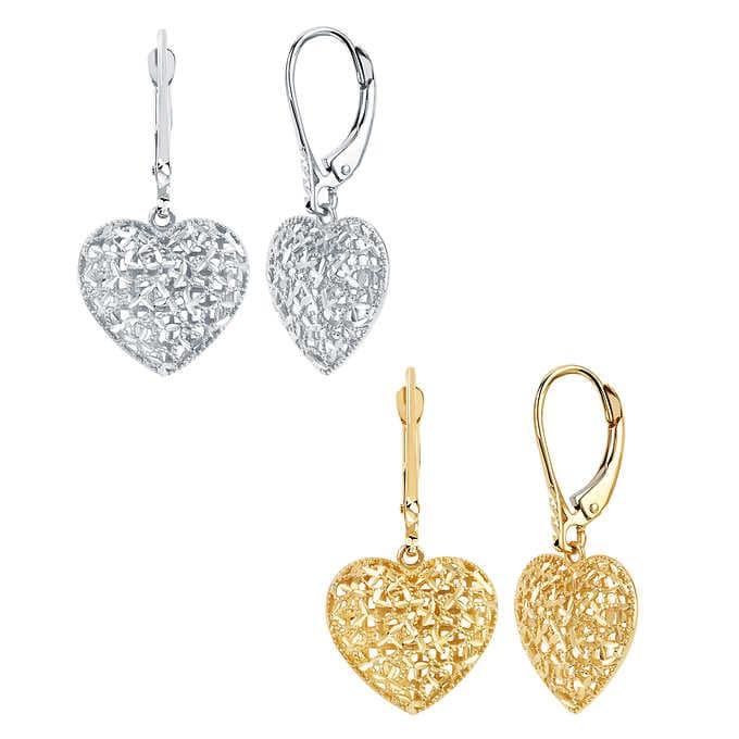 14kt Gold Diamond Cut Filigree Heart Drop Earrin