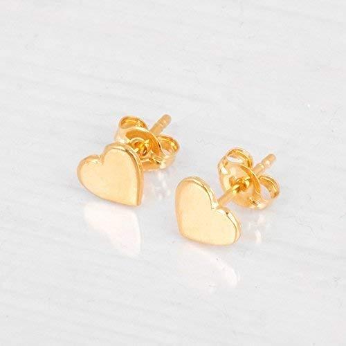 Amazon.com: Gold Heart Stud Earrings - Designer Handmade 6mm .