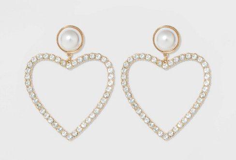 SUGARFIX By BaubleBar Pearl Studs Crystal Heart Hoop Earrings .