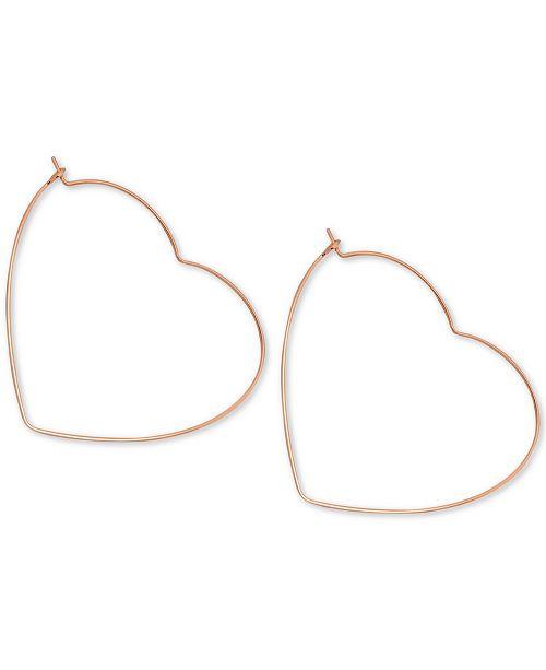 Essentials Heart Large Hoop Earrings in Rose Gold-Plate .