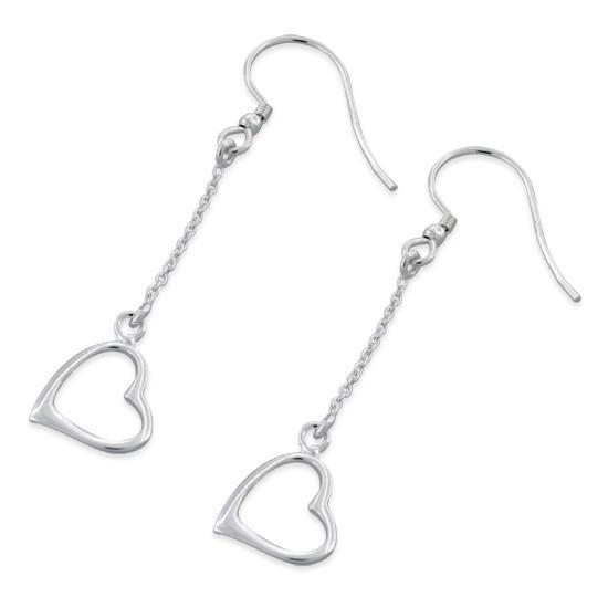 Sterling Silver Heart Dangle Earrin