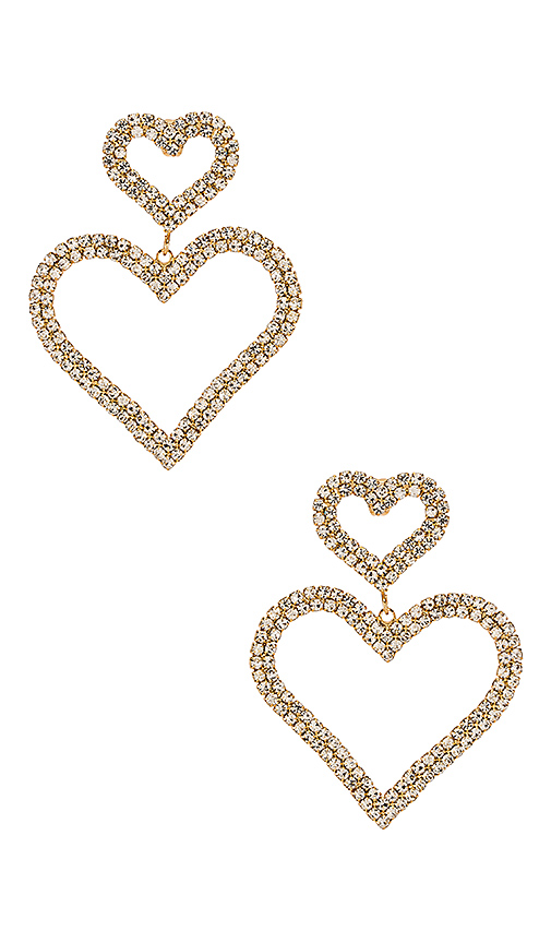 Ettika Double Heart Earrings in Gold | REVOL