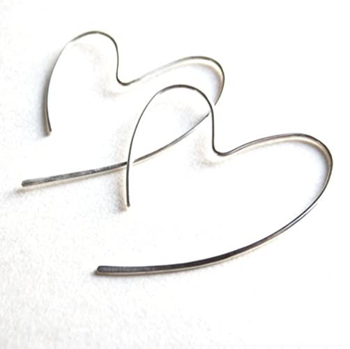 Amazon.com: Heart Hoop Earrings. Sterling Silver Open Heart .