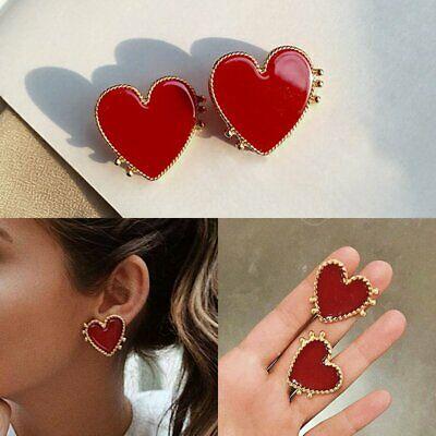 Punk Gold Edge Red Heart Earrings Women Boho Big Ear Stud .