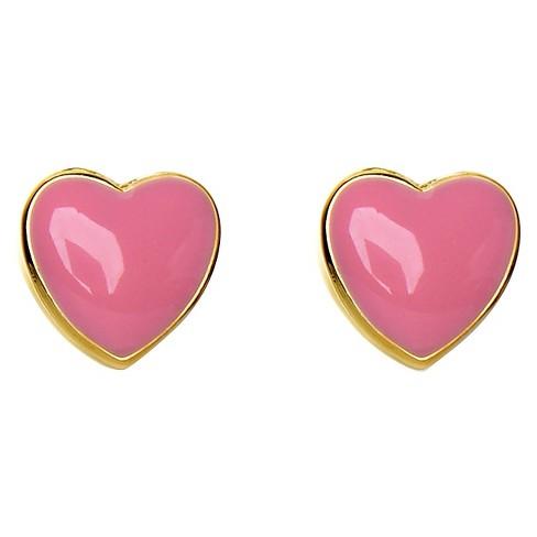 ELLEN 18k Gold Overlay Enamel Heart Stud Earrings - Pink : Targ