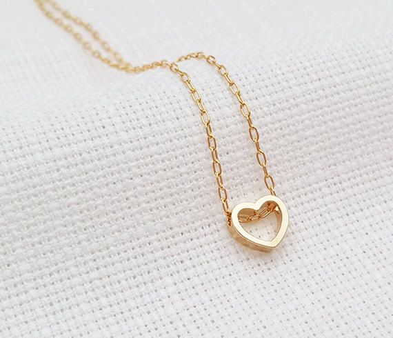 Gold Love Necklace, Heart Necklace, Wife Gift, Heart Pendant .
