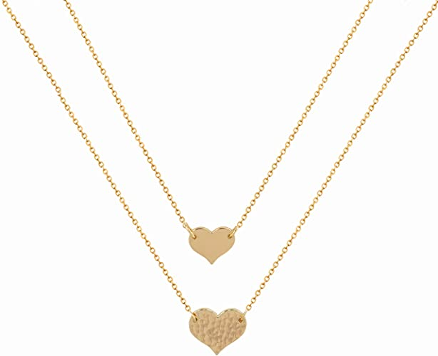Amazon.com: Mevecco Layered Heart Pendant Necklace, 14k Gold .
