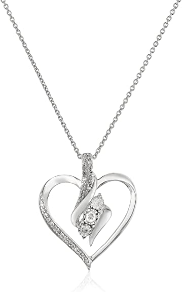 Amazon.com: Sterling Silver Diamond 3 Stone Heart Pendant Necklace .