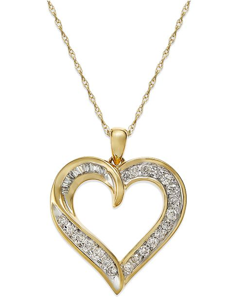 Macy's Diamond Heart Pendant Necklace in 14k Gold (1/4 ct. t.w. .