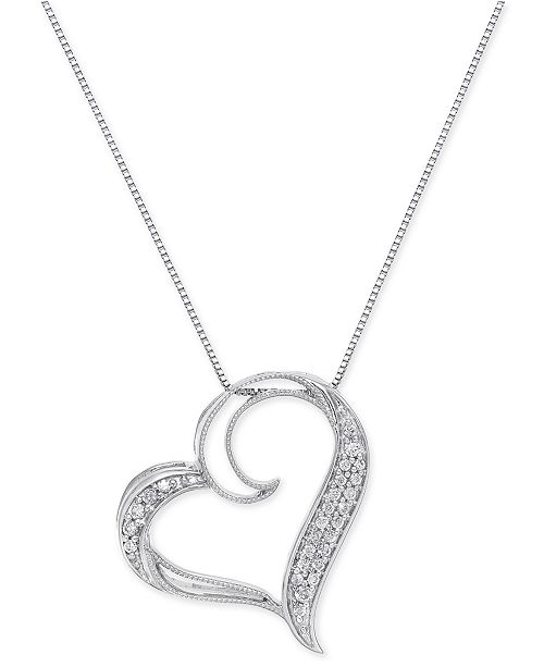 Macy's Diamond Floating Heart Pendant Necklace (1/6 ct. t.w.) in .
