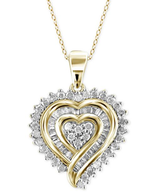 Macy's Diamond Heart Pendant Necklace (1/2 ct. t.w.) in 18k Gold .