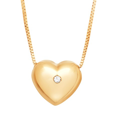 Puffed Heart Pendant with Cubic Zirconia in 14K Gold | Puffed .