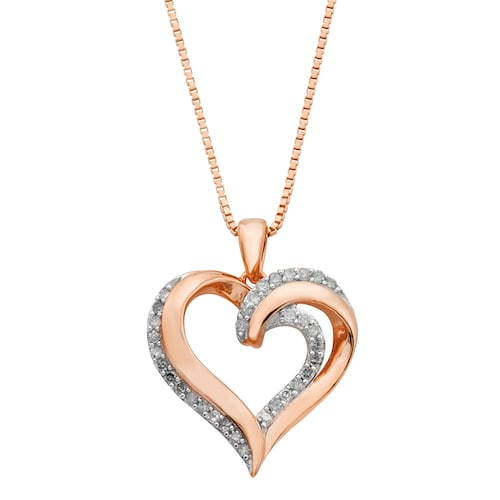 18k Rose Gold Over Silver 1/4 Carat T.W. Diamond Heart Penda