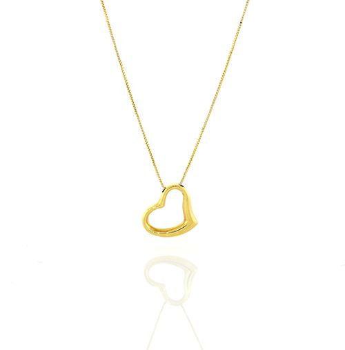 Roberto Coin Yellow Gold Slanted Open Heart Necklace 023267AYCH