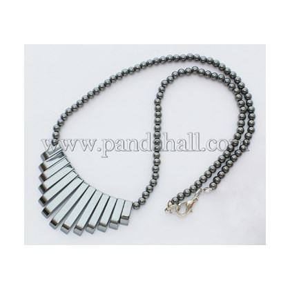 Wholesale Non-Magnetic Hematite Necklace with Iron Findings, Black .