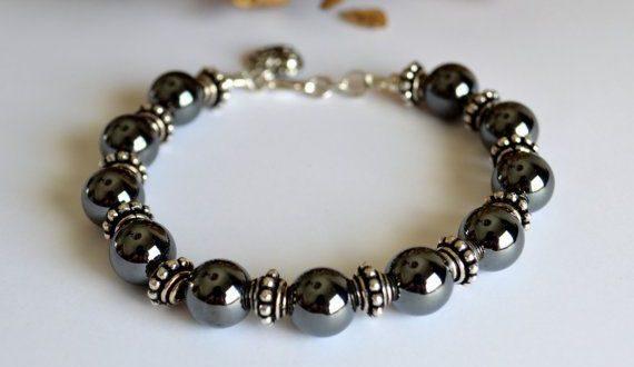 Hematite and silver bracelet hematite jewelry by starrydreams .