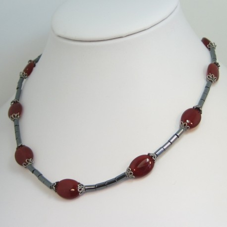 Carnelian and Hematite Necklace, handmade semi-precious carnelian .
