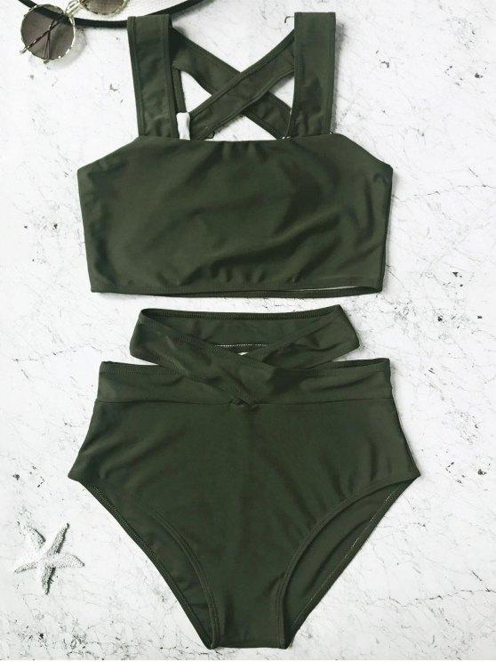 17% OFF] 2020 Caged High Waisted Bikini Set In HUNTER GREEN | ZAF