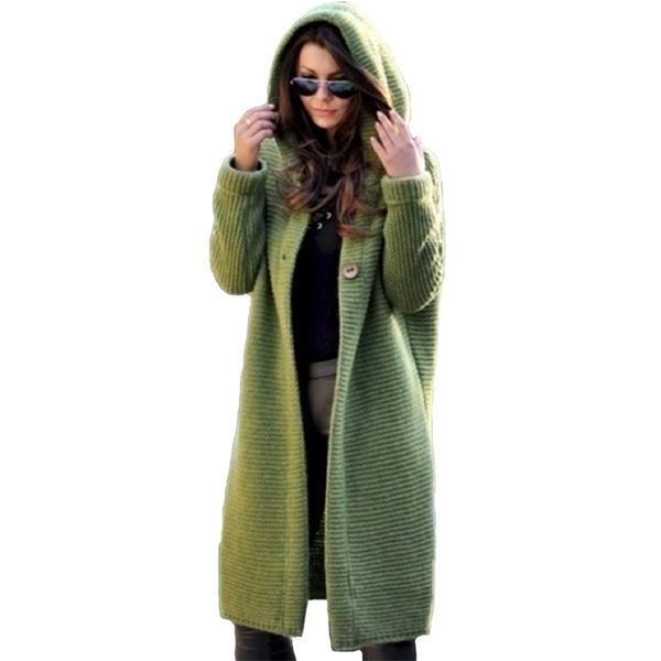 Fashion Knit Cardigan Women Long Sleeve Hooded Sweaters Plus Size Fe