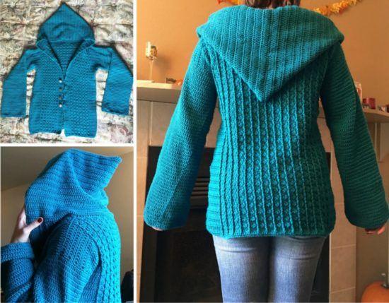 Crochet Hooded Sweater Free Pattern Ideas | Crochet jacket .