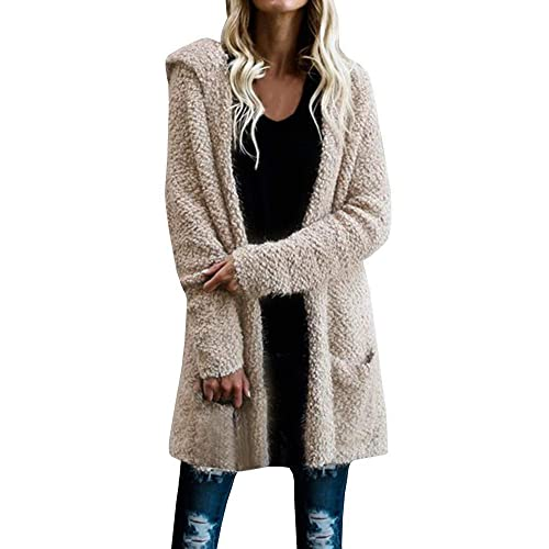 Knitted Long Hooded Sweater Coat: Amazon.c