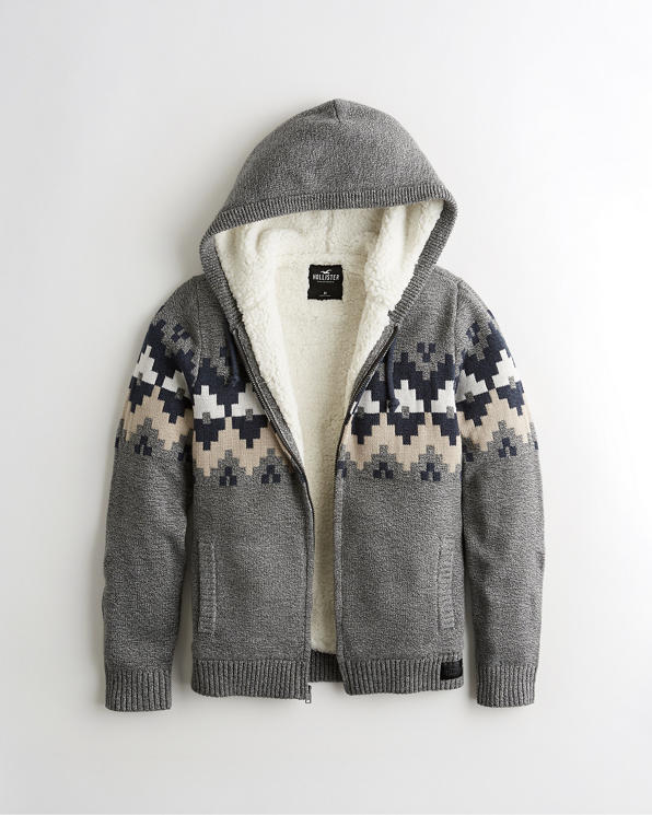 Guys Sherpa-Lined Full-Zip Hooded Sweater | Guys Clearance .