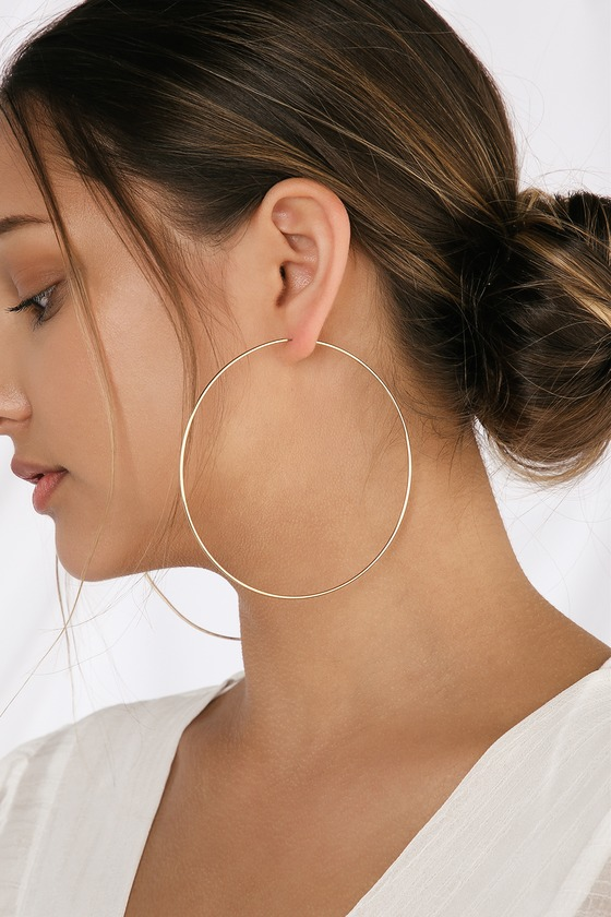 Cute Gold Earrings - Hoop Earrings - Oversized Hoo