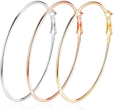 Amazon.com: 3 Pairs 50mm Big Hoop Earrings, Stainless Steel Hoop .