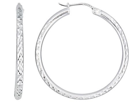 Diamond Cut Sterling Silver Hoop Earrings - BSW017W | JTV.c