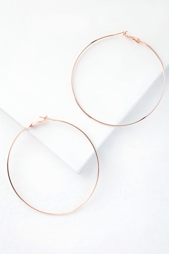 Cute Rose Gold Earrings - Rose Gold Hoop Earrin
