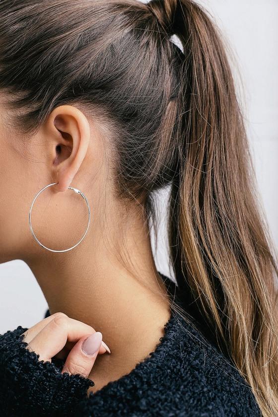 Chic Silver Earrings - Simple Silver Hoop Earrin
