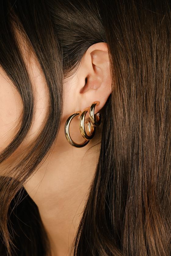 Cute Gold Hoops - Hoop Earings Set - Gold Mini Hoop Earrin