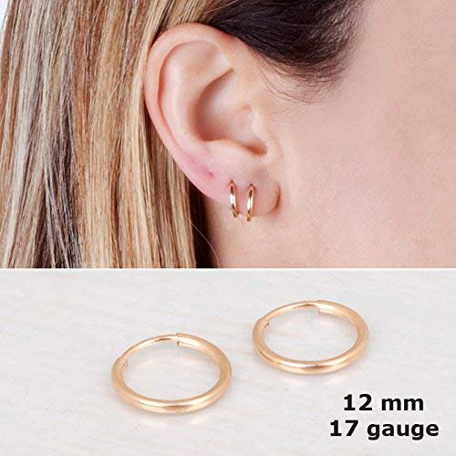 Amazon.com: Tiny Gold Filled Hoop Earrings - Designer Handmade .