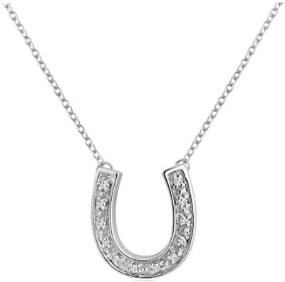 Amazon.com: Sterling Silver Diamond Horseshoe Necklace (1/10ct 16 .