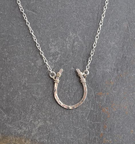 Amazon.com: Lucky Horseshoe Necklace Hammered 18 inch chain length .